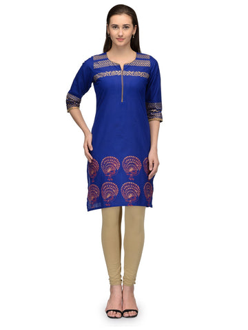 Blue Color Cotton Stitched Kurti - VFK-064