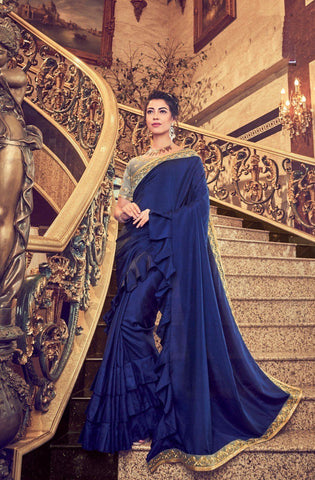 Navy Blue Color Vichitra  Saree - VFZS-009