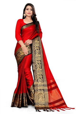 Red Color Cotton Saree - VFZS-0211