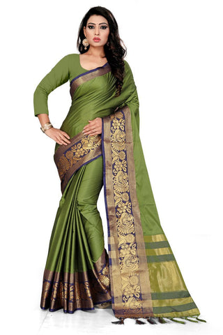 Green Color Cotton Saree - VFZS-0212