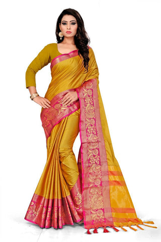 Dark Yellow Color Cotton Saree - VFZS-0213