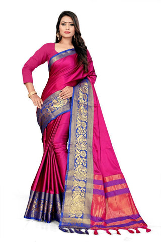 Pink Color Cotton Saree - VFZS-0214
