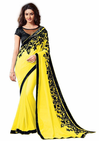 Yellow Color Georgette Women's Saree - VFZS-0217