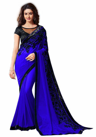 Blue Color Georgette Women's Saree - VFZS-0218