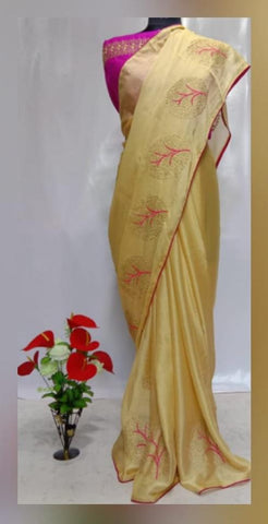 Cream Color Chiffon Women's Saree - VFZS-0226