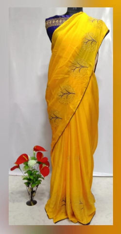 Yellow Color Chiffon Women's Saree - VFZS-0228
