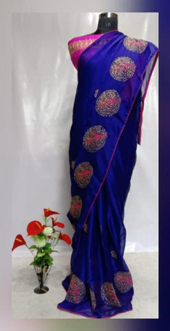 Blue Color Chiffon Women's Saree - VFZS-0229