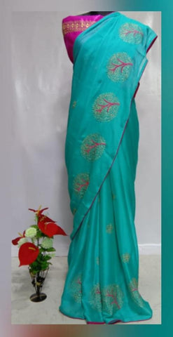 Sky Blue Color Chiffon Women's Saree - VFZS-0230