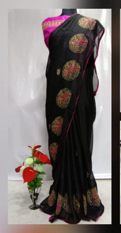 Black Color Chiffon Women's Saree - VFZS-0231