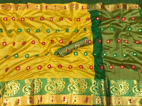 Yellow Color Cotton Silk Saree - VFZS-0251