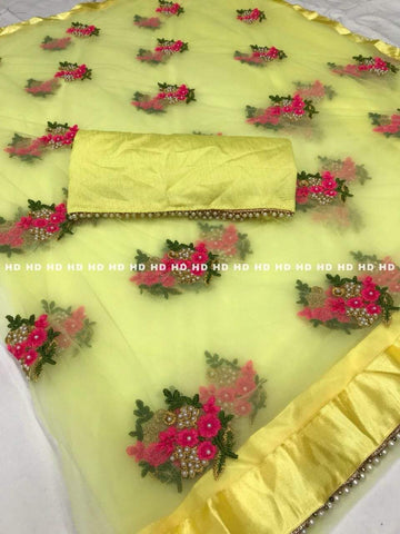 Yellow Color Mono Net Saree - VFZS-0267