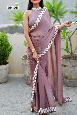 Cream Color Vichitra Women's Ethnic Saree - VFZS-0280