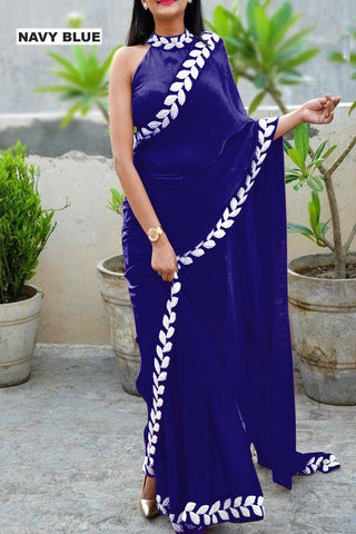 Navy Blue Color Vichitra Women's Ethnic Saree - VFZS-0281
