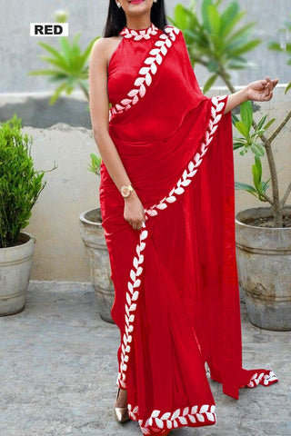 Red Color Vichitra Women's Ethnic Saree - VFZS-0282