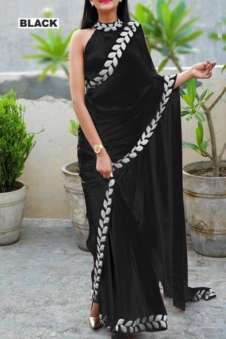 Black Color Vichitra Women's Ethnic Saree - VFZS-0283