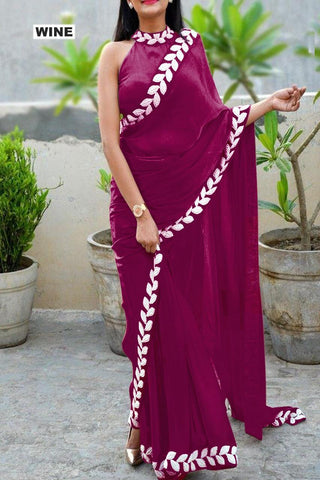 Magenta Color Vichitra Women's Ethnic Saree - VFZS-0284