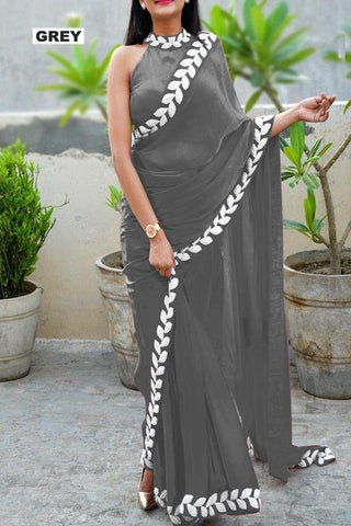Grey Color Vichitra Women's Ethnic Saree - VFZS-0285