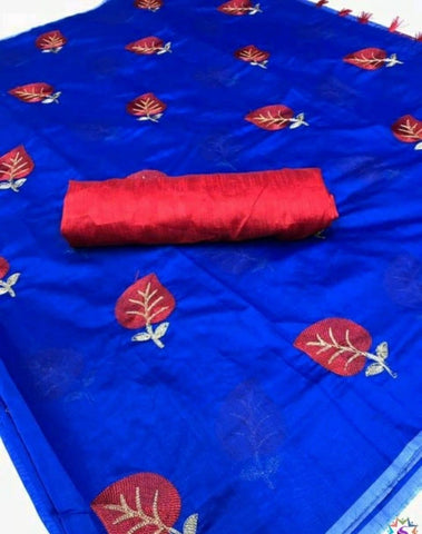 Blue Color Cotton Women's Ethnic Saree - VFZS-0294