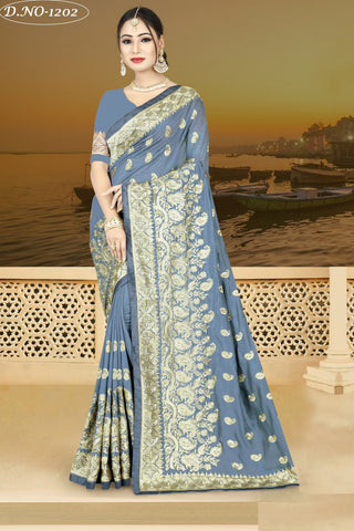 Light Grey Color Vichitra Silk Saree - VICHITRAA-1202