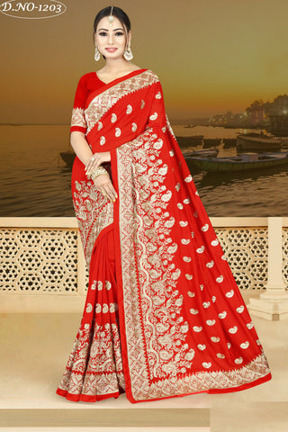 Red Color Vichitra Silk Saree - VICHITRAA-1203