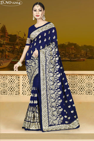Navy Blue Color Vichitra Silk Saree - VICHITRAA-1204