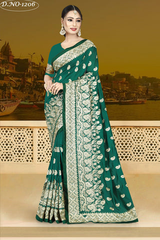 Green Color Vichitra Silk Saree - VICHITRAA-1206