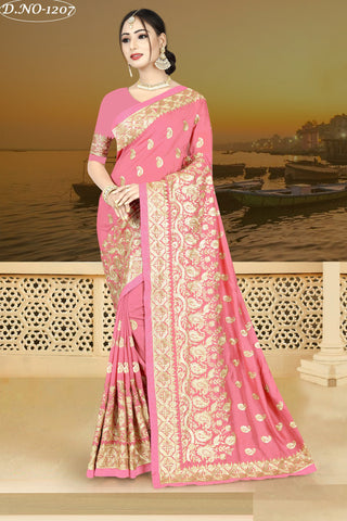 Peach Color Vichitra Silk Saree - VICHITRAA-1207