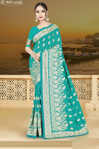 Sea Green Color Vichitra Silk Saree - VICHITRAA-1209