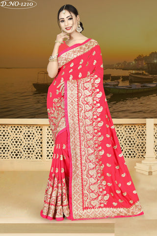 Red Color Vichitra Silk Saree - VICHITRAA-1210