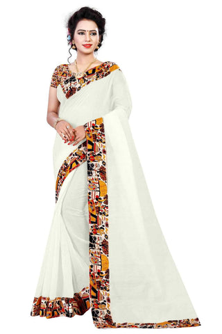 White Color Chanderi Silk Saree - VILLA-WHITE