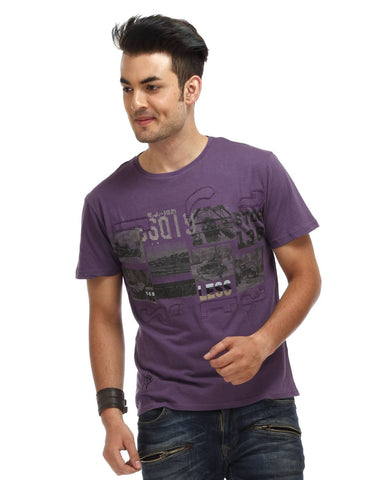 Purple Color Cotton Men T-Shirt - VIN-Ink
