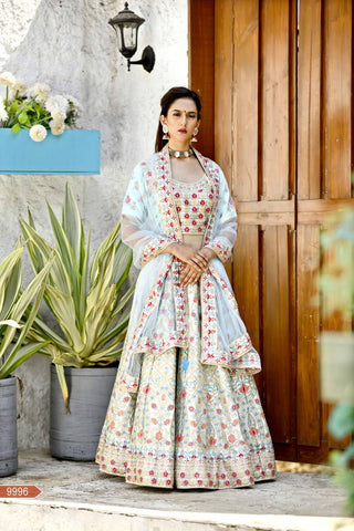 Arctic Blue Color Malai Satin Semi Stitched Lehenga - VOL27-9996