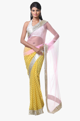 Yellow Color Net and Chiffon Saree - VR013