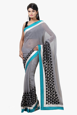Grey Color Faux Georgette Shimmer Saree - VR016