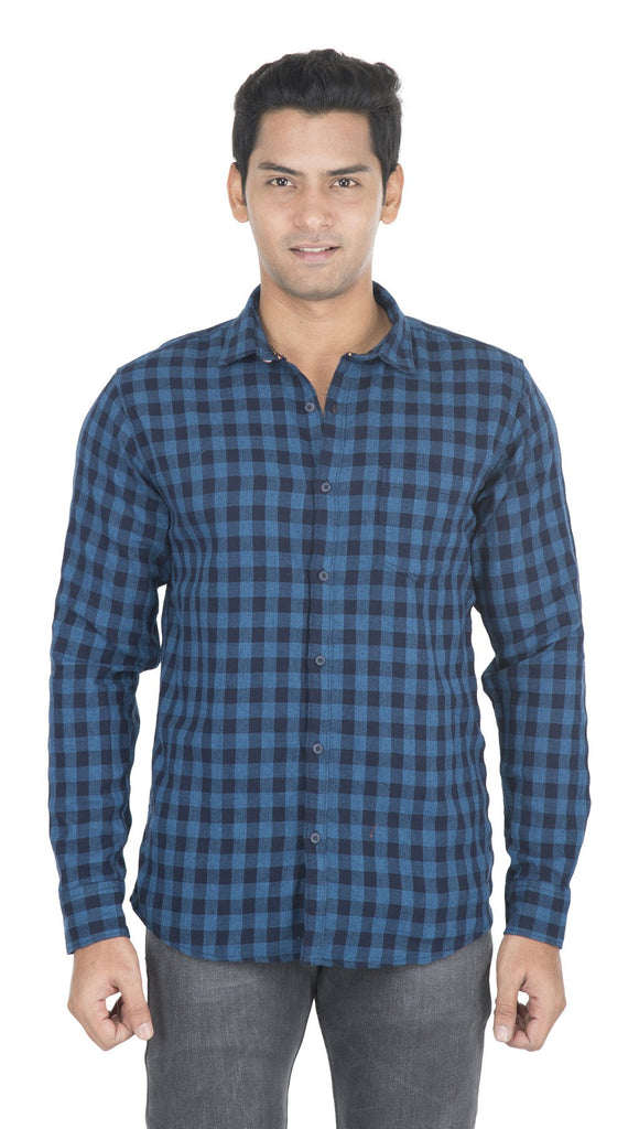 Buy Blue And Navy Blue Checks Color Cotton Mens Shirt