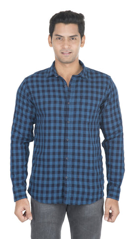 Blue And Navy Blue Checks Color Cotton Mens Shirt - VS-10