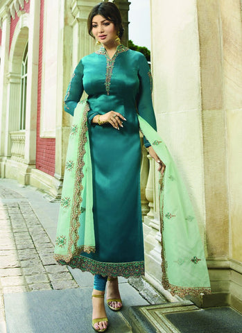 Sea Blue Color Satin Georgette Semi Stitched Salwar - VS-22071