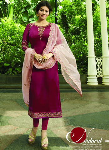 Maroon Color Satin Georgette Semi Stitched Salwar - VS-22072