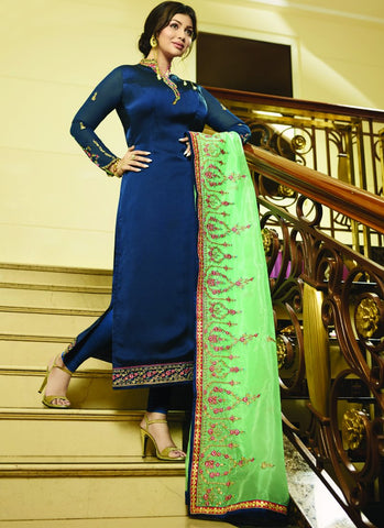 Navy Blue Color Satin Georgette Semi Stitched Salwar - VS-22074