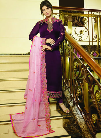 Magenta Color Satin Georgette Semi Stitched Salwar - VS-22075