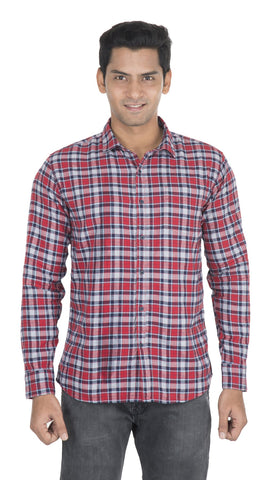 Red Checks Color Cotton Mens Shirt - VS-2