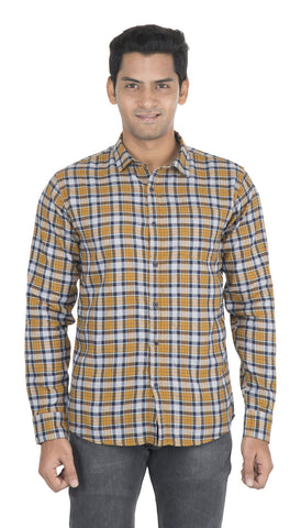Yellow Checks Color Cotton Mens Shirt - VS-3