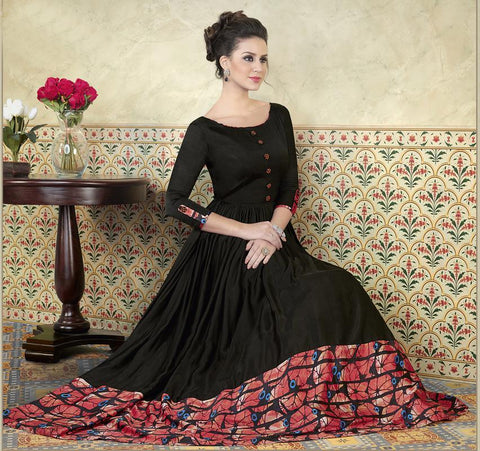 Black Color Model Satin Semi Stitched Lehenga - VS-5301-B