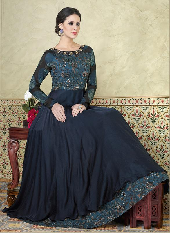 Buy Blue Color Tussar Silk Semi Stitched Lehenga