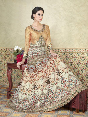 Ivory Color Model Satin Semi Stitched Lehenga - VS-5303-B