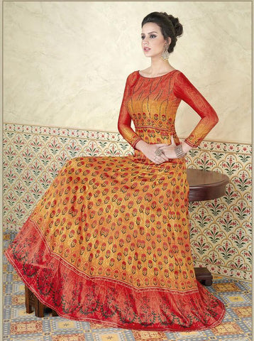 Mustard Color Model Satin Semi Stitched Lehenga - VS-5305-B
