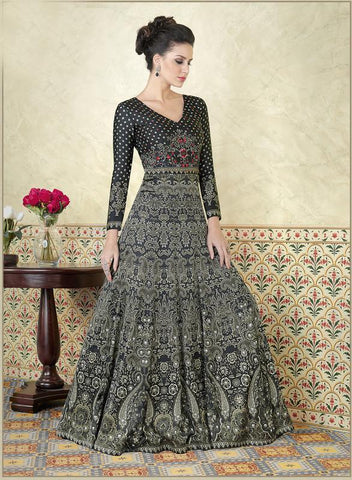 Black Color Model Satin Semi Stitched Lehenga - VS-5307-B