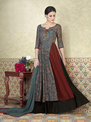 Buy Grey Color Tussar Silk Semi Stitched Lehenga