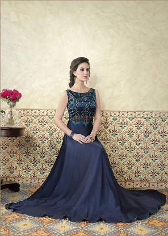 Blue Color Model Satin Semi Stitched Lehenga - VS-5311-B