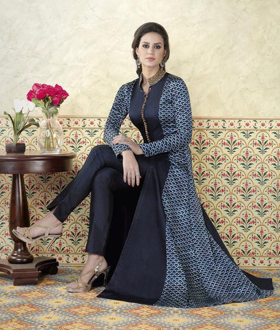 Blue Color Model Satin Semi Stitched Salwar- VS-5312-B